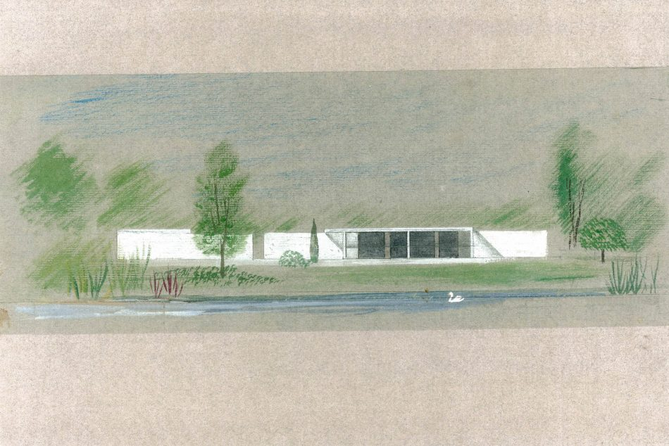 Drawing by Michael Newberry of the house at Bishopstrow