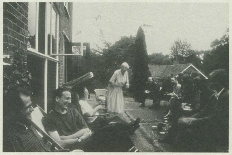 A day trip to the house in Watford, 1995, by the celebrated group known as 'Papers on Architecture'. Pictured are Tony Fretton, Adam Caruso, David Adjaye, Jonathan Woolf and others
