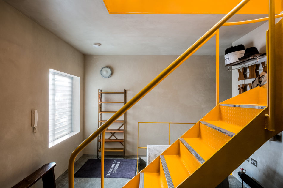 Yellow staircase at Jonathan Root's house