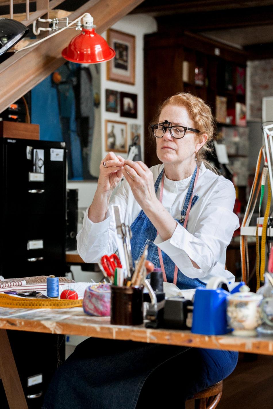 Lis Carpenter at work in her studio