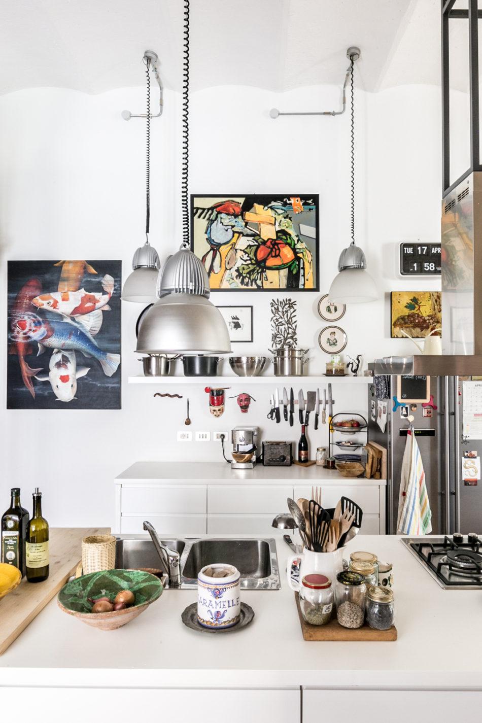 Artwork adorns the kitchen walls