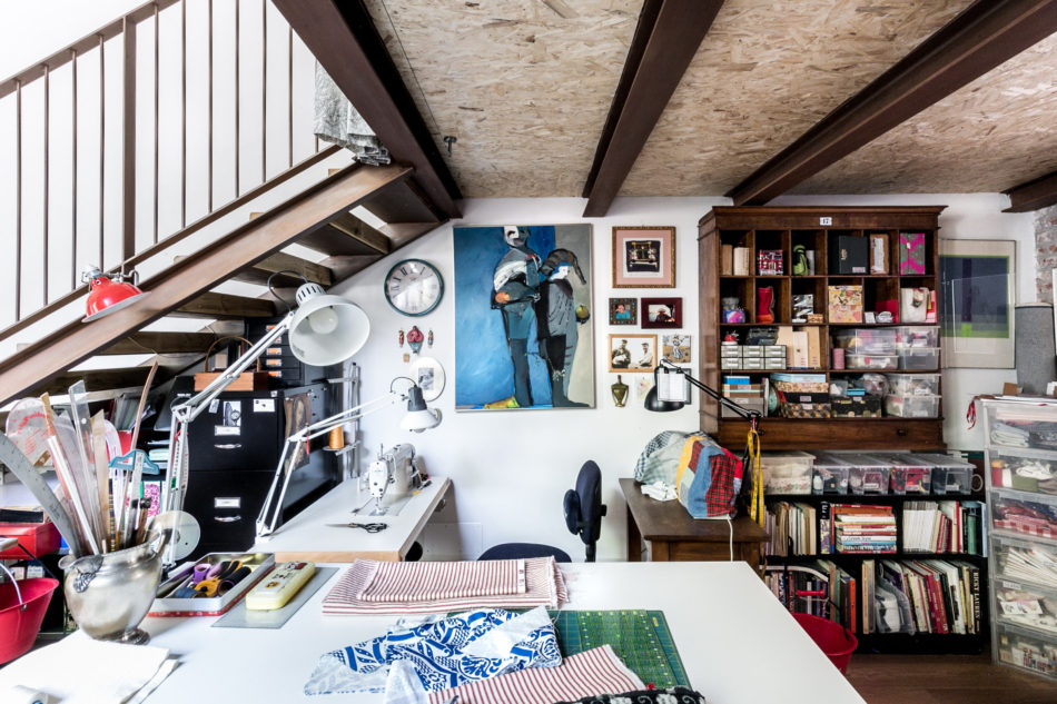 textile studio in the open plan space