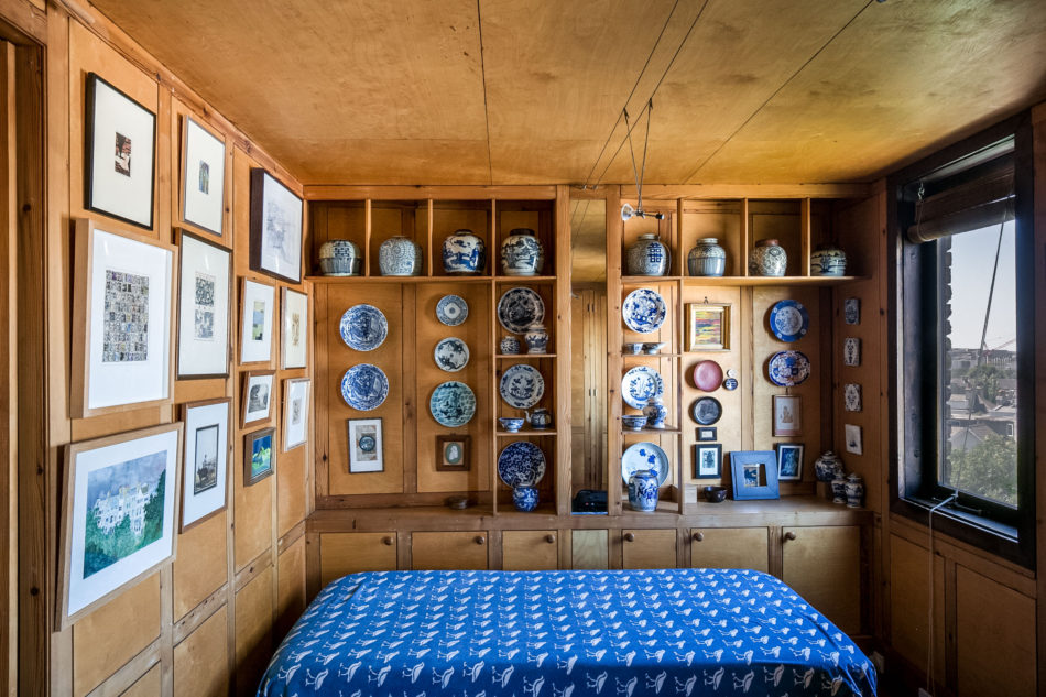 textiles and ceramics in one of the bedrooms