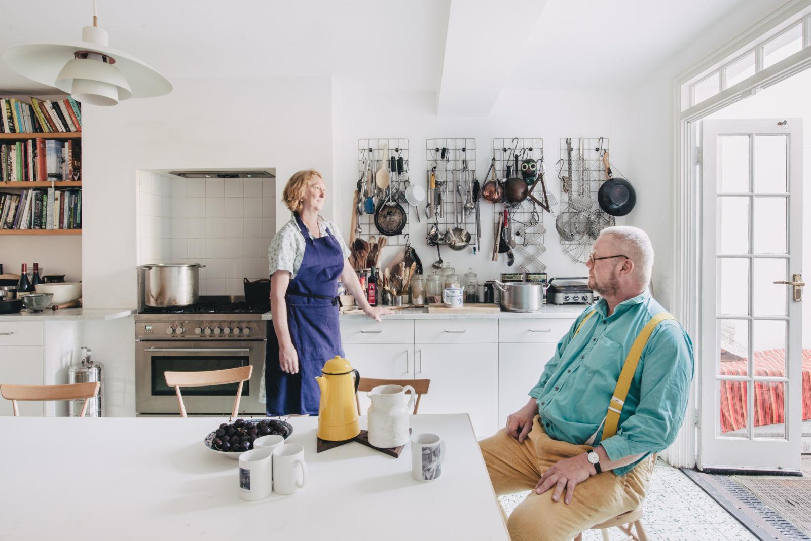 margot and fregus henderson in their kitchen