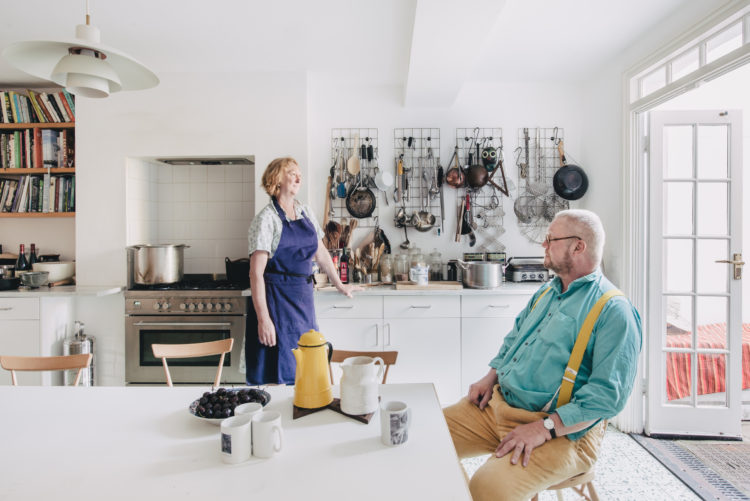 margot and fregus henderson in their kitchen