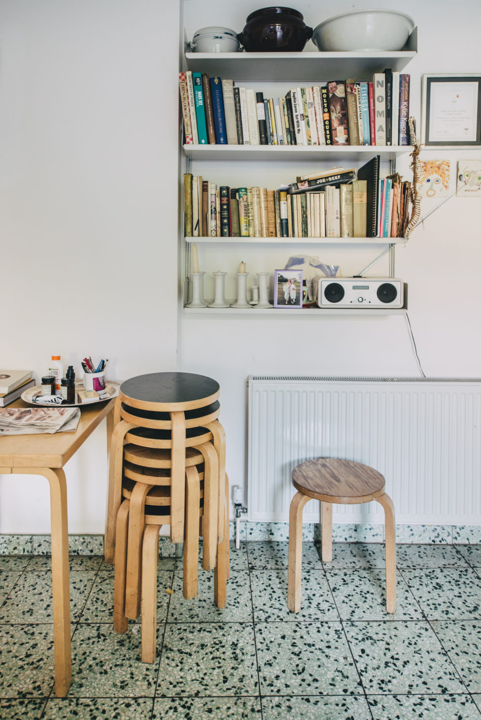aalto stools in the kitchen